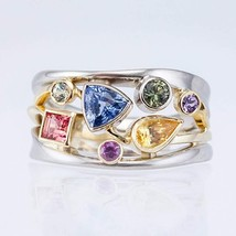 925S Silver Multicolor Geometric Ladies Ring Set With Zircon Wavy Lines ... - $25.99