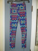 Lularoe Blue Leggings W/Multi-Colored Print Size L/XL Girl's  EUC - $23.20