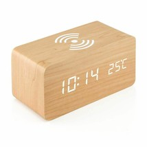 Wooden Digital Alarm Clock Thermometer With Qi Wireless Charging Pad LED... - $27.54