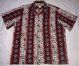 Hilo Hattie Hawaii Red Floral Print 100% Cotton Button Front Camp Shirt ... - $37.39