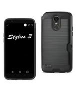 Reiko Lg Stylo 3/ Stylus 3 Slim Armor Hybrid Case With Card Holder In Bl... - $8.54