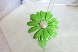 "60s Vintage Popping Lime Green Enamel Flower Power Pin Brooch 3"" Chrysanthemum - $18.00"