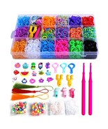 PENGXUAN Rainbow Color Rubber Loom Bands Refills Kit Set Storage Box For... - $17.12
