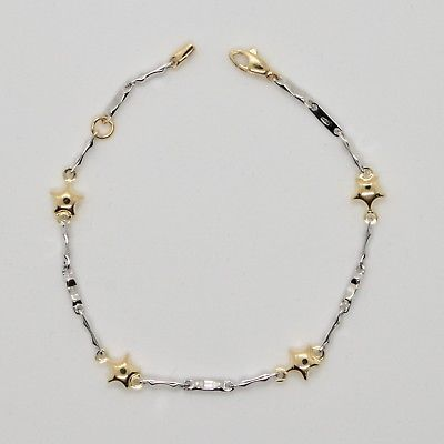 18k YELLOW & WHITE GOLD BRACELET FOR KIDS WITH STAR 6.5 INCHES MADE IN ITALY