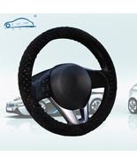 Pearl Velvet Winter Car Black Steering Wheel Cover Soft Warm Plush Unive... - $6.80