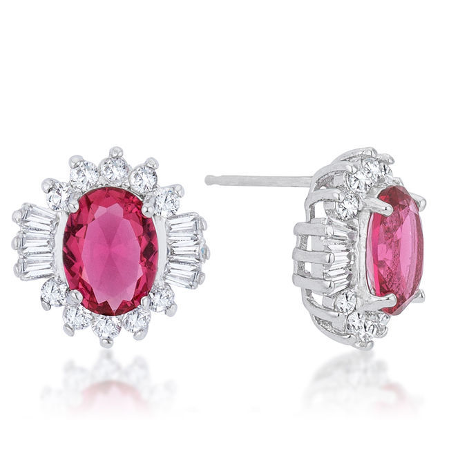 Chrisalee 3.3ct Ruby CZ White Gold White Gold Classic Stud Earrings
