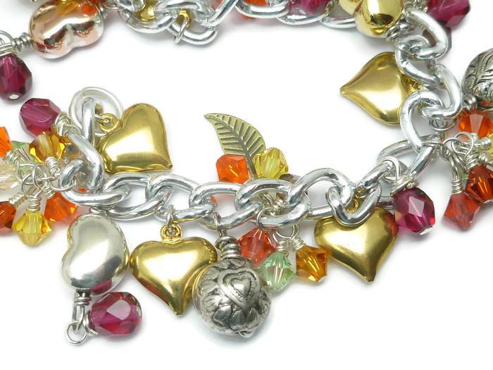Gold Silver Heart Charms Swarovski Crystal Silver Chain Bracelet