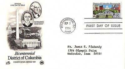 September 7, 1991 First Day of Issue, Postal Society Cover, District of Columbia