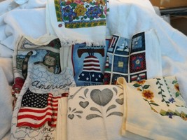 lot of 12 dish towels with patriotic and country themes - $9.99