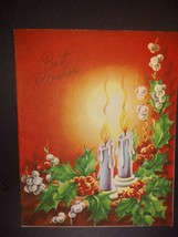 Candles and Holly on Red Vintage Christmas Card - $4.00