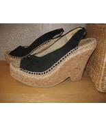 Womens 8 NINE WEST Blk Fabric Cork & Jute Hi Heel ESPADRILLES shoes Sand... - $17.69