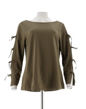 Women with Control Knit Top Bow Slv Washed Olive XL NEW A306466 - $24.73