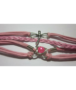 """6 1/2"""" TO 8"""" ADJ PINK LEATHER LAYERED CORD BRACELET WITH DRAGONFLY HEART... - $5.99"""