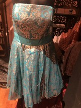 Unused Betsey Johnson Turquoise Gold Brocade Party Dress Size 2 - $95.04