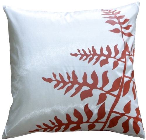"Pillow Decor - White with Red Bold Fern 20"" Throw Pillow"