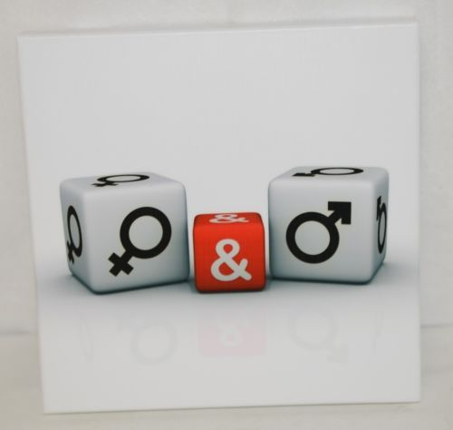 Unbranded SA8646A White Background Male Female White Red Dice Wall Picture