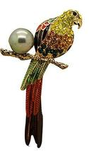 Female Corsage Blouse Scarf Pins Parrot Colorful Adjustable Crystal Brooch