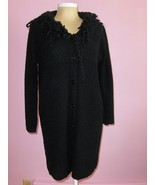 Womens Black Cardigan Sweater Coat Black L to XL with Fringe on Collar Area - $24.99