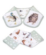 SET OF COUNTRY ANIMALS DOUBLE OVEN GLOVE & TEA ... - $20.41
