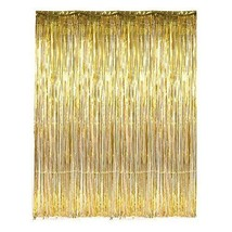 3ft x 8ft Metallic Gold Foil Tinsel Fringe Curtain Photo Backdrop Party ... - $6.76+