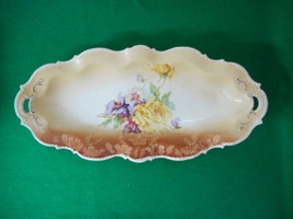 """UnSigned RS Prussia Germany Style Porcelain Floral 12"""" Oval Dish - $39.11"""