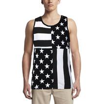 LR Scoop Men's US American Flag Summer Beach Two Tone Slim Fit T-Shirt Tank Top image 2