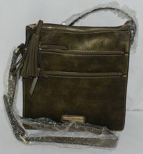 Simply Noelle Brand HB243 Black Metallic Color 3 Zipper Womens Purse