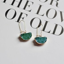 Druzy Crystal Fashion Sparkle Geometric Dangle Earrings Crew Stone Blue ... - $26.19