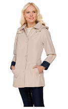 Liz Claiborne New York Button & Zip Front Coat w/ Contrast Trim, Sand\Navy, XS - $32.66