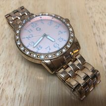 G By GUESS Lady Rose Gold Tone Rhinestone Analog Quartz Watch Hours~New Battery image 3