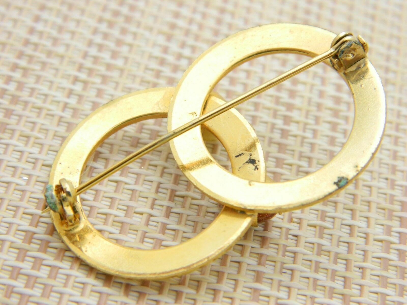 Yellow Tiger's Eye Goldstone Infinity Pin Brooch Vintage