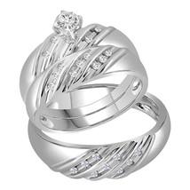14kt White Gold His & Hers Round Diamond Round Matching Bridal Wedding Ring Set - $1,067.86