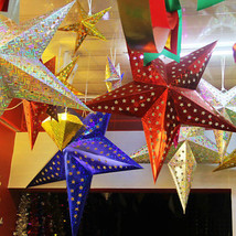 Colored 3D Hanging Paper Star Bar Ceiling Christmas Party Wedding Festiv... - £0.80 GBP+