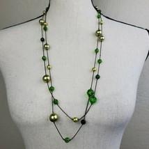 "Boho Green Beaded Necklace 60"" Long Festival Bohemian Fashion Jewelry - $19.99"