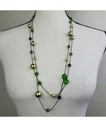"Boho Green Beaded Necklace 60"" Long Festival Bohemian Fashion Jewelry - $19.99"