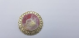 Vintage Gold Tone Cameo Brooch / Pendant W/ Two Angles & Woman Outside S... - $29.02