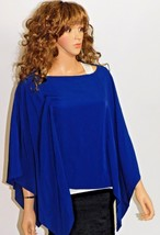 Joyce Women's Small (S) Sheer Polyester Poncho Top with Lace Back, Navy Blue