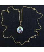 1920's Two Sided Medal Sacred Heart Hand Painted Enameled in 10 K. Gold ... - $217.80