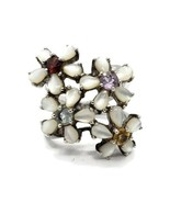 BX Vintage 925 Sterling Silver MOP Gemstone Flower Statement Ring Size 8.25 - $49.49