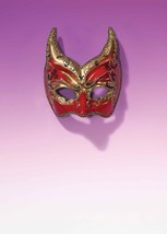 Gold & Red Horn Venetian Style Mardi Gras Masquerade Mask w/ Red & Gold Glitters - $21.39