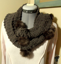 "CHENILLE Scarf Brown with PomPoms 4""x66"" Long soft Cozy square knit - €11,88 EUR"