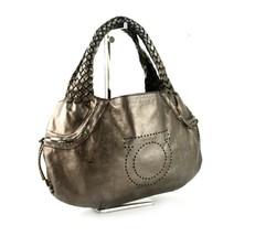 Auth Salvatore Ferragamo Gancini Metallic Leather Hand Bang Shoulder Hob... - $157.41