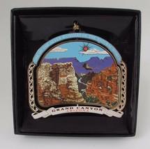 Grand Canyon Color Brass Ornament Black Leatherette Gift Box AZ Souvenir - $16.95