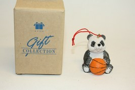 Avon Bear-y Christmas Basketball Panda Bear Ornament Sports Holiday 1998 in Box - $6.92