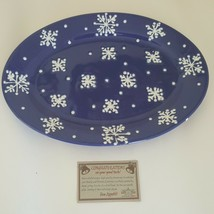 At Home America Moonlit Snowflake Hand Painted Christmas Serving Platter... - $20.29