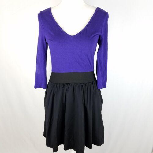 Express Dress Womens Sz 8 Black Purple Elastic Waist Stretch 3/4 Sleeve Pockets