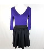 Express Dress Womens Sz 8 Black Purple Elastic Waist Stretch 3/4 Sleeve ... - $11.68