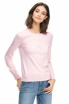 Lands End Women's Supima Crew Cotton Cardigan Sweater Pink Breeze Heather New - $34.99