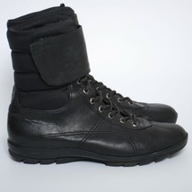 PRADA Women Combat  Boots Black Leather Lace Up Ankle Booties Size EU 40 US 9 - $335.35
