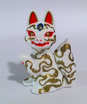 Candi Bolton Resin White and Gold Kitsune Fox image 1